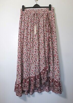 NEW M&S Pink & Red Ditsy Floral Wrapover Ruffle Frill Boho Maxi Skirt, 12 Long • 5.50£
