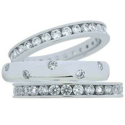 $ CDN25.39 • Buy QVC Epiphany Platinum Clad Sterling Scattered Stone 3-pc.Set Ring Size 5 $99