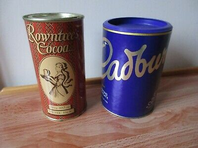 VINTAGE ROWNTREE'S COCOA TIN 250g FULL + FREE CADBURY'S DRINKING CHOCOLATE OofD  • 8.99£