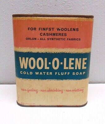 Vintage 1956 Wool-o-lene Cold Water Fluff Soap Leeds Chemical Products Can • 12.88£