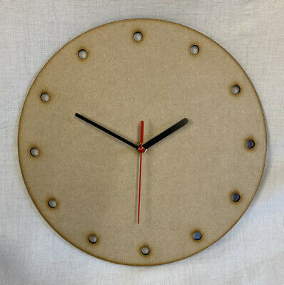 £11.99 • Buy CL6 30cm Round Wooden Dot Clock Kit. Ideal For Craft, Deco Patch