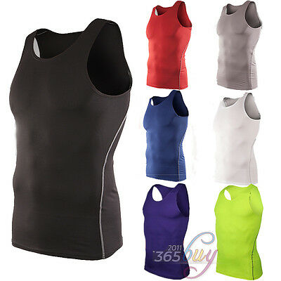 £8.54 • Buy Mens Compression Vest Base Layer Sports Gym Muscle Solid Bodybuilding Tank Top