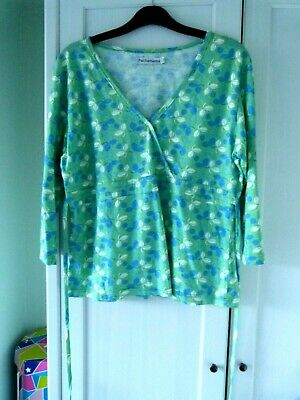 Pachamama Top, Mock Wrap, Green/blue/white, Size 3, UK 10 • 6£