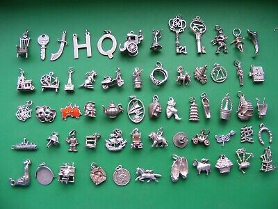 £6.99 • Buy R) Vintage Sterling Silver Charms Charm Well Seal Masks Church Sword Key 21 Ring