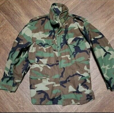 $40 • Buy Military M65 Field Jacket Woodland Camouflage  1996 Alpha  Med. Short Cleaned