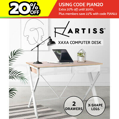 AU109.90 • Buy Artiss Computer Desk Office Study Student Writing Metal Table Drawer Cabinet