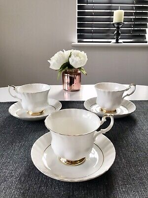 Royal Albert Fine Bone China White Tea Cups And Saucers With Gold Rim • 18.99£