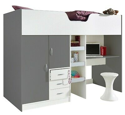 £299 • Buy Bourne Loft High Sleeper Children's Cabin Bed Desk Wardrobe Grey/White R1610GW