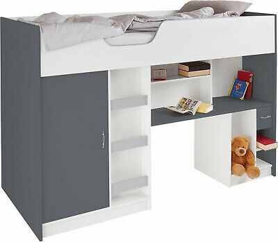 £263.98 • Buy New High Cabin Bunk Single Childrens Kids Bed Lifestyle Grey/white (r140gw)