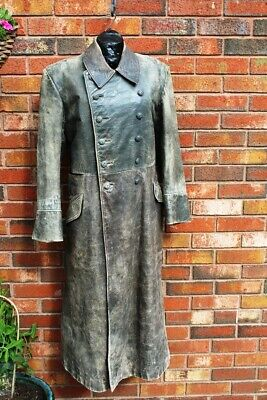 WW2 German Officer Genuine Leather Coat- Hard To Find Genuine Made For Officers • 399£