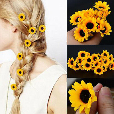$ CDN6.96 • Buy Women's Sunflower Hair Clips Sweet Wedding Party Bridal Prom Hair Accessories