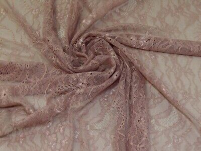£9.99 • Buy Chantilly Lace Fabric Mauve - Sold Per Metre
