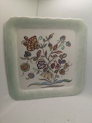 Vintage Mintons Display Cabinet Square Floral Plate DB CLITH 11/88 • 30£