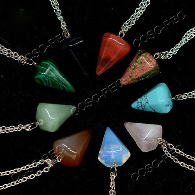 $ CDN24.11 • Buy Wholesale Lots 20pcs Carved Natural Gemstone Silver Tone Pendant Necklace Bead