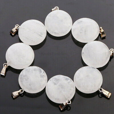 $ CDN40.13 • Buy Wholesale Lots 50pcs Round Natural Crystal Stone Beads Pendants Jewelry FREE