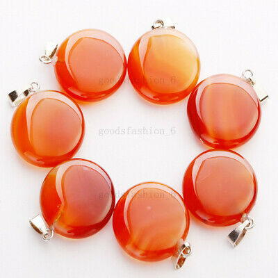 $ CDN19.52 • Buy Wholesale Lots 20pcs Round Natural Red Agate Stone Beads Pendants Jewelry FREE