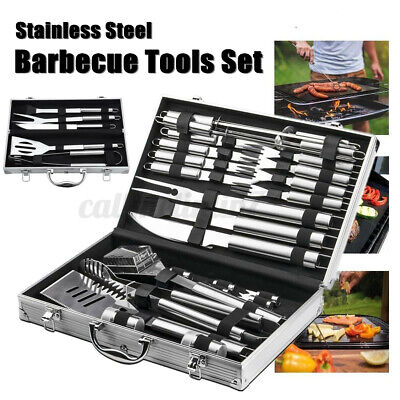 £26.98 • Buy 26 PCS BBQ Grill Cooking Utensil Tool Set Stainless Steel Barbeque Portable Case