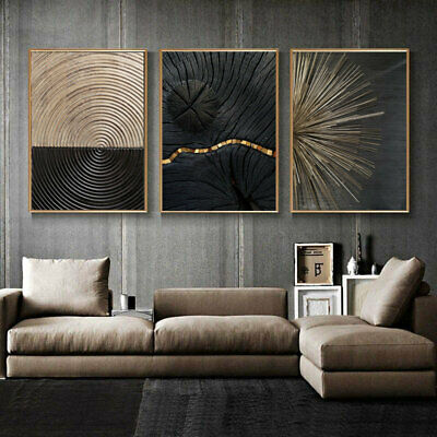 £9.99 • Buy Set Of 3 Black Golden Line Texture Poster Canvas Painting Wall Art Home Decor