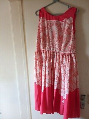 £30 • Buy Monsoon Gorgeous White/coral Red Fit & Flare Floaty Classy Dress Size 18 Bnwt