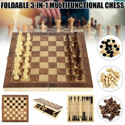 £10.29 • Buy UK Large Chess Wooden Set Folding Chessboard Pieces Wood Board New Hot