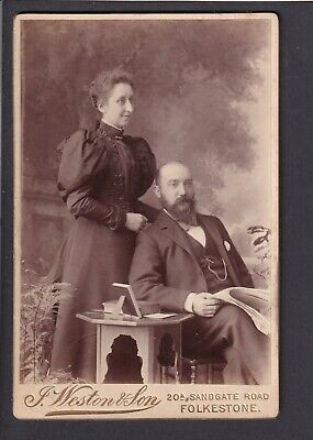 £3 • Buy Victorian Cabinet Card - A Couple - Photo Weston & Son, Kent Folkestone
