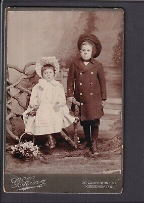£3.20 • Buy Victorian Cabinet Card - Girl & Boy - Photo G.King, Kidderminster