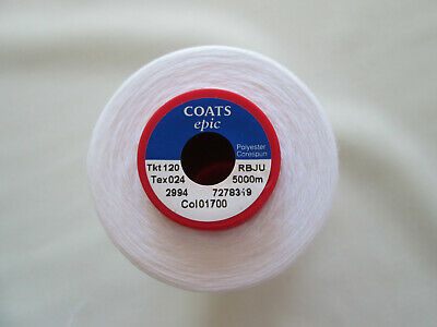 £8.50 • Buy Coats Epic Thread TKT 120 White Sewing Thread X 5000m Cone