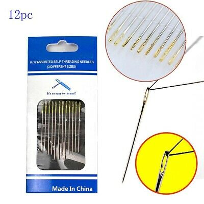 £1.99 • Buy 12 X Self Threading Sewing Needles Gold Eyes 3 Lengths 36mm 38mm 42mm