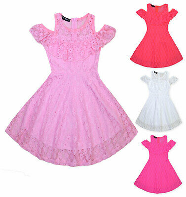 £10.99 • Buy Girls Lace Dress Kids Cold Shoulder Dress Summer Party Frill Dress Age 2-12 Yrs