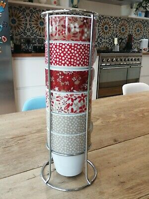 £3.50 • Buy Set Of 6 Stackable Cups Mugs In Chrome Stand Next Red Beige