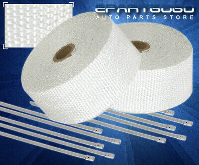 $31.99 • Buy 30Ft X 2  X 1.5mm Heat Wrap Thermo Shield Exhaust Pipe +Stainless Zip Tie White