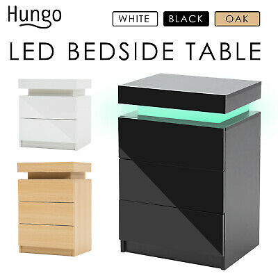 AU189 • Buy LaBella Bedside Tables 2/3 Drawers RGB LED Bedroom Cabinet Nightstand Gloss