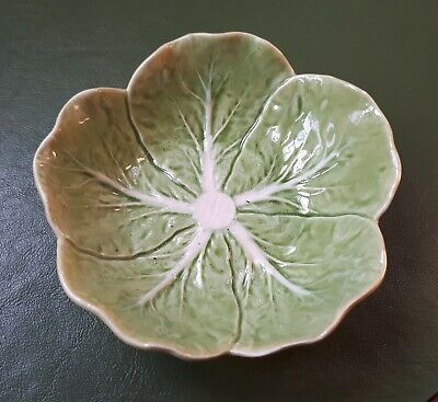 £8 • Buy Vintage 1960s Portuguese Majolica Green Cabbage Leaf 120 Mm Bowl. Home Dining