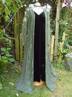 £34.99 • Buy New Dramatic Flowing Medieval Lace Coat Long Panels Bohemian Hippy Summer 14 16