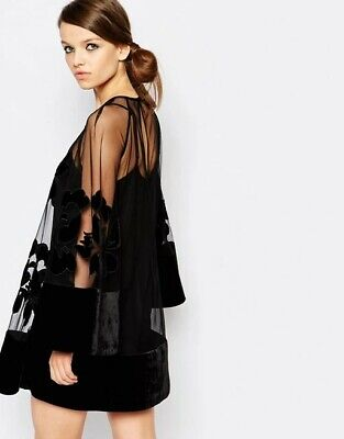 AU160 • Buy Alice McCall Back For Good Black Bell Sleeve Mini Dress Size 6RRP $380