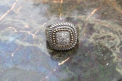 $145 • Buy Sterling Silver & 14K Yellow Gold  Center Diamond Cluster Pinky Men's Ring 7 1/2