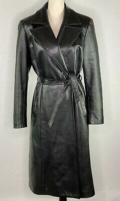 $ CDN107.81 • Buy Danier Women's Size 8/10 Soft Leather Black Belted Trench Coat Made In Canada