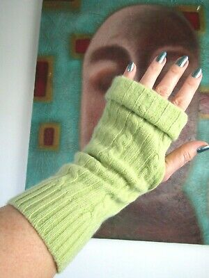 £12 • Buy Tazzies Lime Green Hand Crafted Recycled 100% Cashmere Wrist Cuff Gloves #8