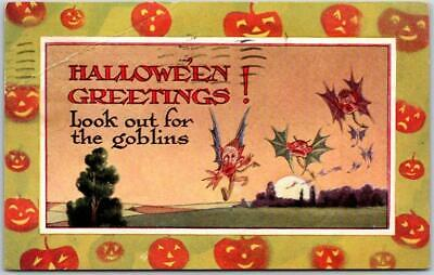 $ CDN10.74 • Buy Vintage Gibson HALLOWEEN GREETINGS Postcard  Look Out For The Goblins  1915