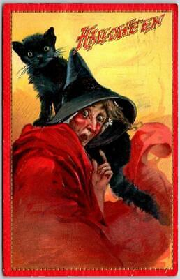 $ CDN18.75 • Buy Vintage 1915 HALLOWEEN Postcard Ugly Red Witch / Black Cat TUCK'S Series 174