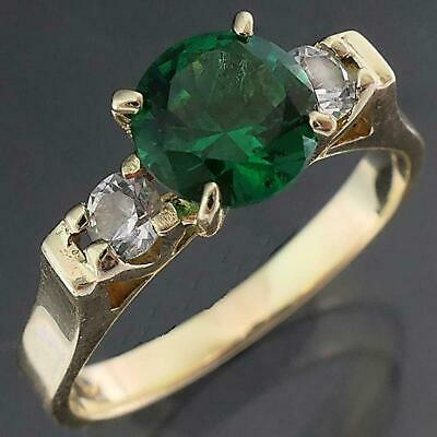 AU189 • Buy Retro Styling Solid 9k Yellow GOLD GREEN CUBIC ZIRCONIA & CZ Accents RING Sz L
