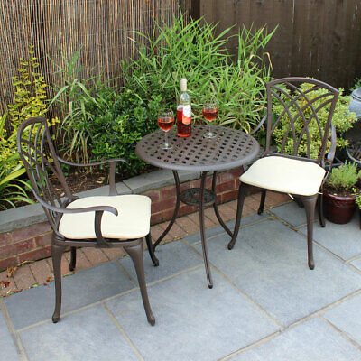 £229.99 • Buy Charles Bentley Furniture 3 Piece Cast Aluminium Bistro Set Table & 2 Arm Chairs