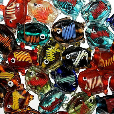 £8.49 • Buy Lampwork Glass Fish Bead 26mm India Mix 26 Beads Multi Colored With Stripes Fg6