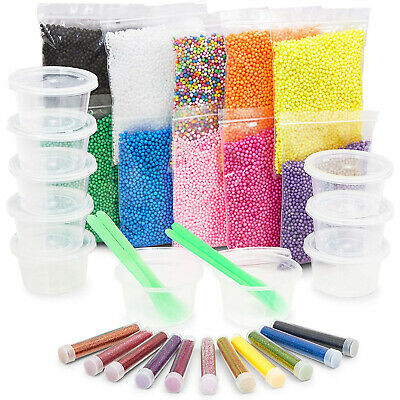 AU12.22 • Buy DIY Slime Making Kit With Micro Foam Beads, Glitter Powder, Containers (35 Pcs)