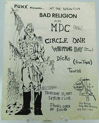 $14.95 • Buy Bad Religion Mdc Circle One Dicks At The Skylight Club La Punk Concert Poster