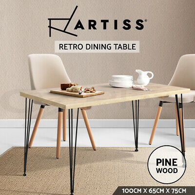 AU105.95 • Buy Artiss Dining Table 4 Seater Tables Wood Industrial Scandinavian Timber Metal