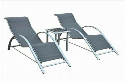 £119.99 • Buy 2x Black Chaise Sun Loungers With Glass Side Table Outdoor Garden Furniture Set