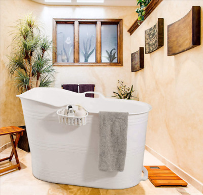 £113.99 • Buy Bath Bucket White Mobile Bathtub  Adults Ideal For Small Bathrooms Baby Products