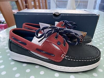 """£20 • Buy Dubarry Womens """"crete"""" Denim/red Boat Shoes In Leather Size 4 37 New Boxed ⚓️"""