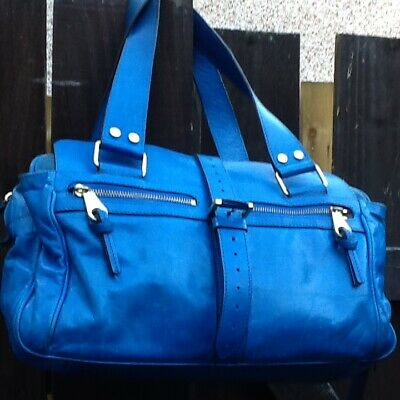 £225 • Buy MULBERRY Mabel Bag Ocean Blue Leather Suede Genuine Authentic Stunning